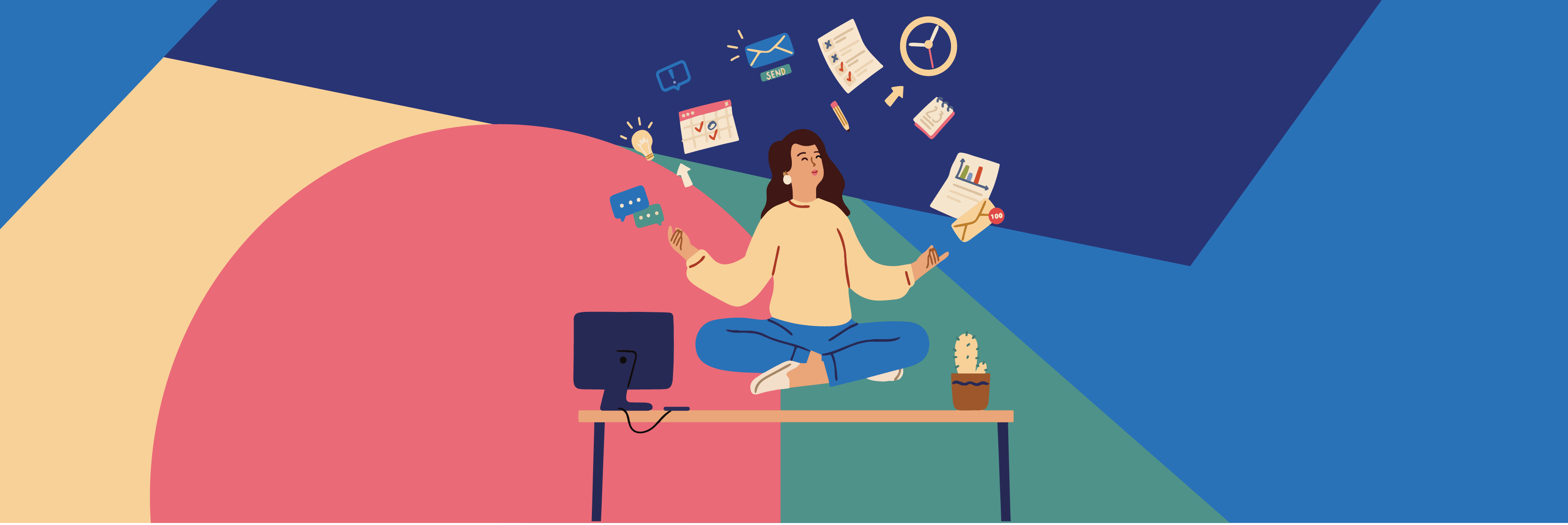 Cartoon of woman meditating while juggling work and life activities